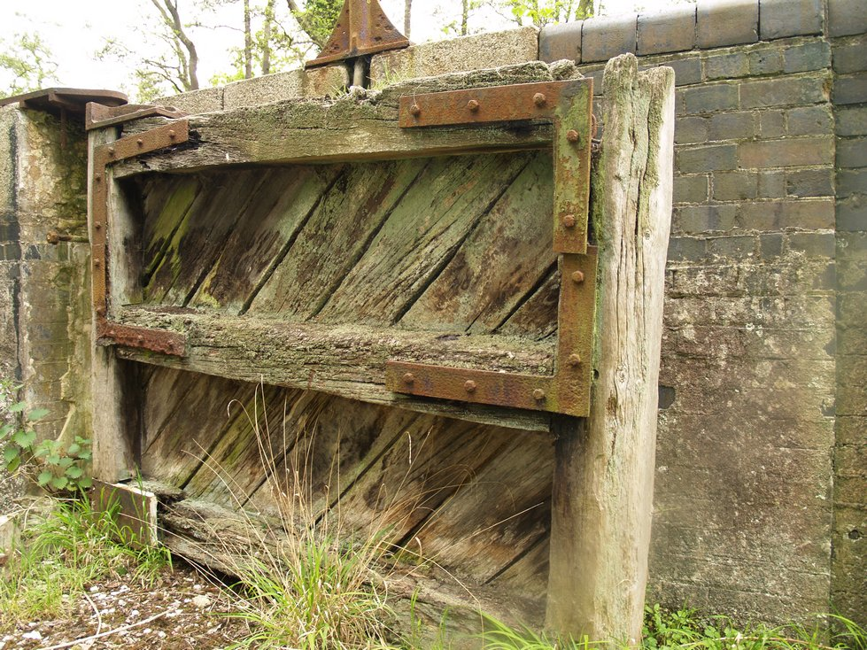 Derelict lock gate at Gunpowder Mills in Waltham Abbey. Lost Canals of London