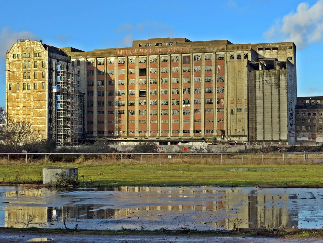 The long abandoned but soon to be redeveloped Millennium Mills by the Royal Docks in Newham, E16