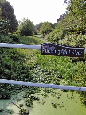 The Pudding Mill River a few years before the Olympic Stadium buried the river