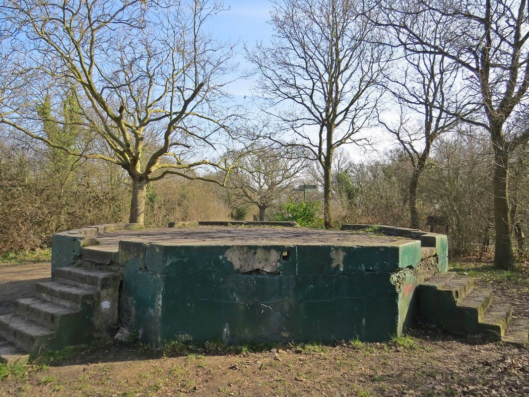 WW1 gun emplacement on One Tree Hill near the source of the Peck, one of London's Lost Rivers