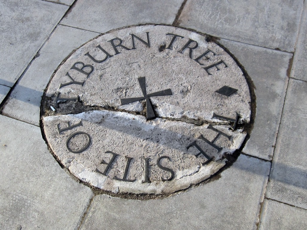 Site of the Tyburn Tree where public executions took place on the banks of the Tyburn Brook
