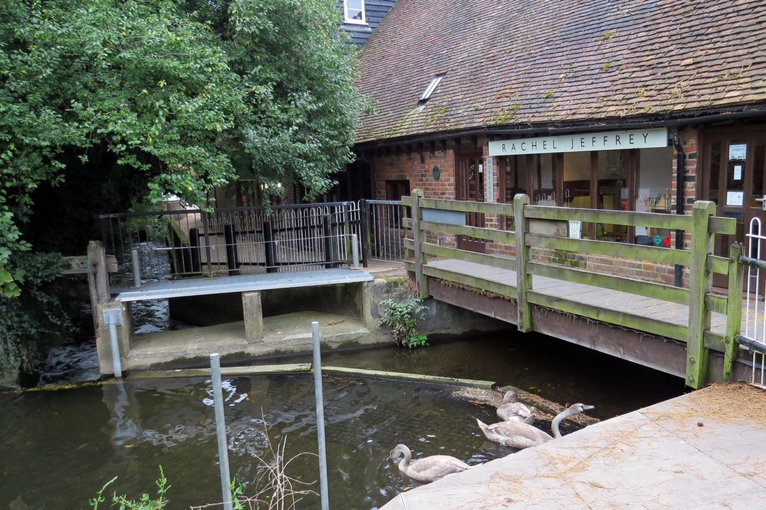 Picture of the River Lea flowing under the Rachel Jeffrey shop[ in Wheathampstead, Herts
