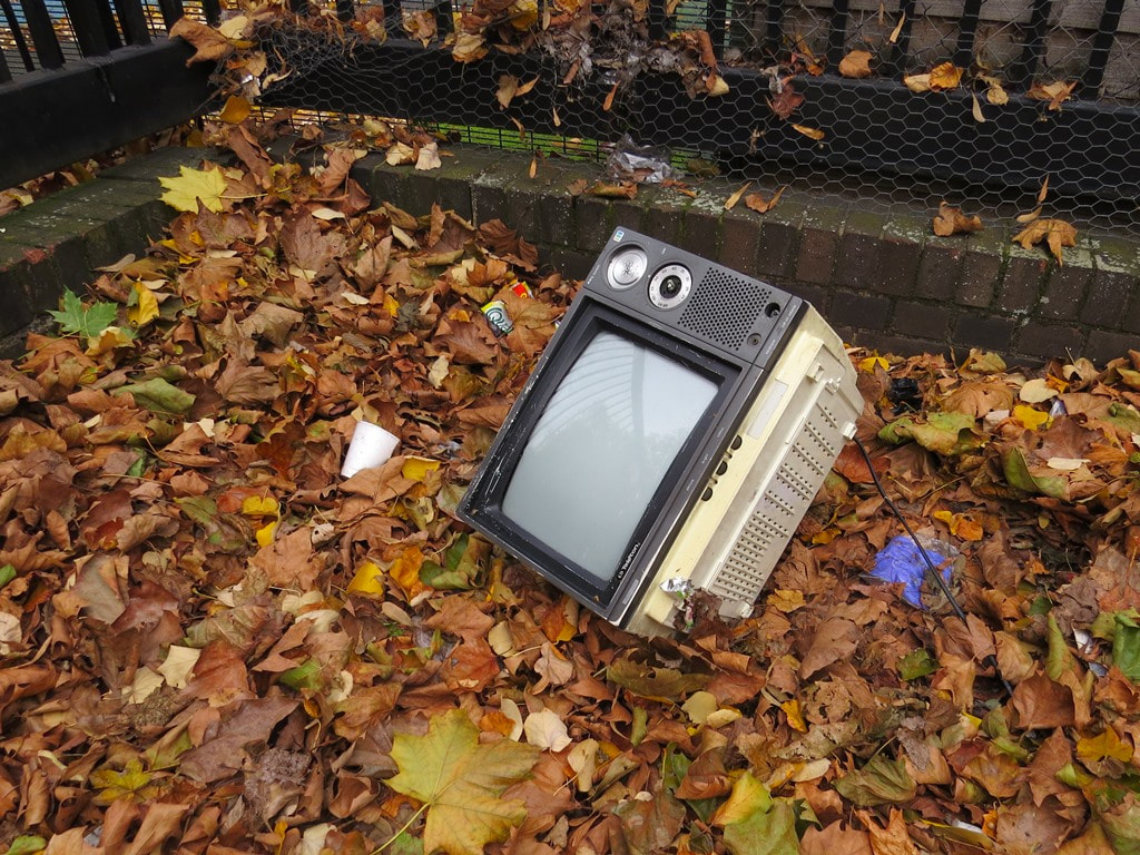 Flytipped television in Shadwell East London